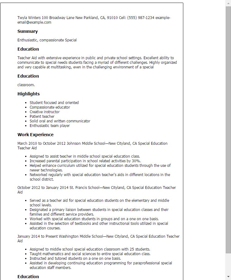 Sample Resume For Teachers Aide Or Assistant