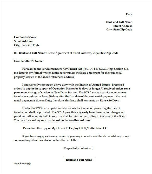 letter to end lease agreement