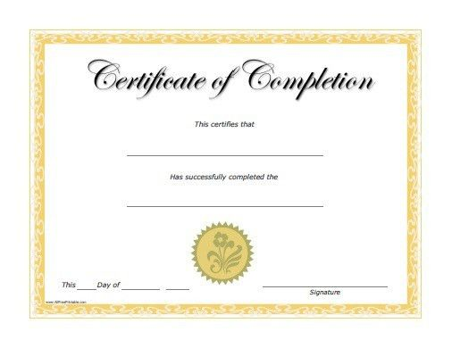 Printable Certificates Of Completion Free Certificate Template - printable certificate of attendance