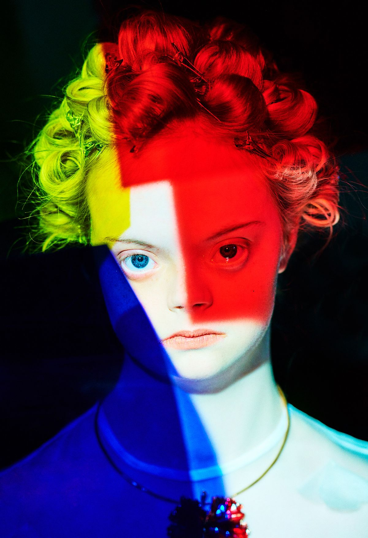 Stunning color block portrait of Lily Moore by Elizaveta Porodina for Radical Beauty Project.