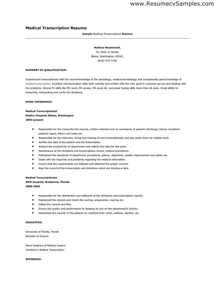Perfect Sample Medical Transcription Resume Transcriptionist Resume For Medical Transcription Resume