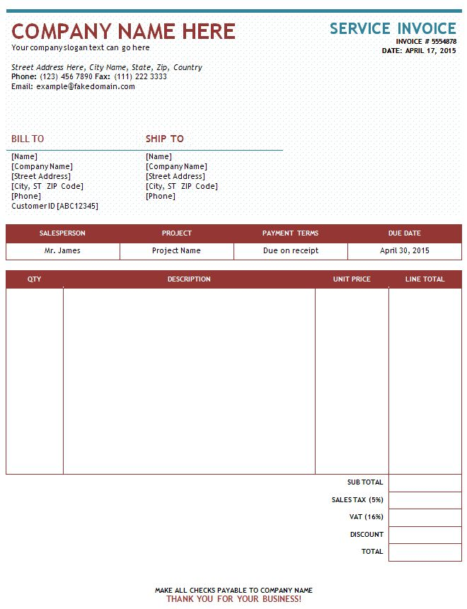 Sample Of Invoices For Services Free Service Invoice Template For - sample service invoice