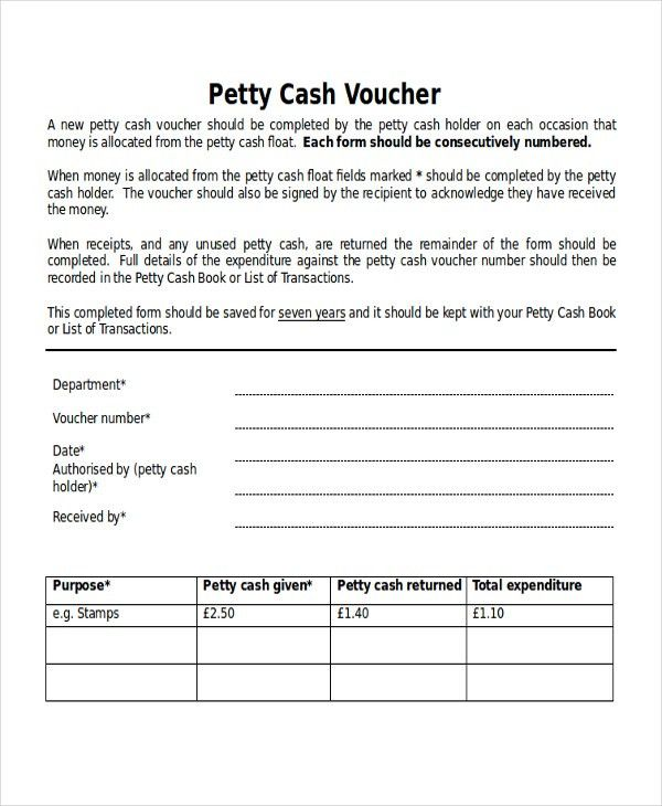 Example Of Petty Cash Voucher Accounting And Procedures For Petty - petty cash voucher template