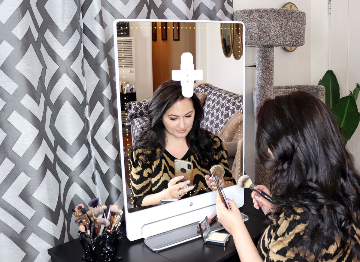 I tried the Glamcor Riki Skinny and Riki Tall lighted selfie makeup mirrors. They are super bright and have BlueTooth selfie functions. Which one is best for you? #beautyblogger #makeup #mirror