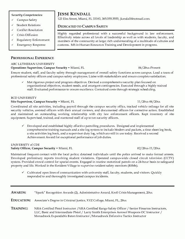 Security Objectives For Resume Criminal Justice Resume Samples