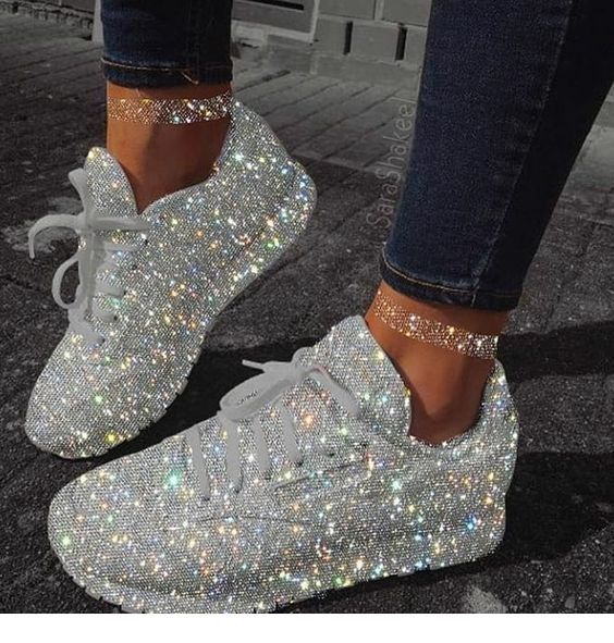 Glam glitter sport shoes