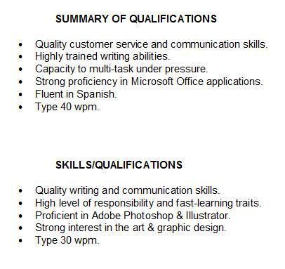 Awesome Skills Summary Resume Example How To Write A Qualifications  Ability Summary Resume Examples