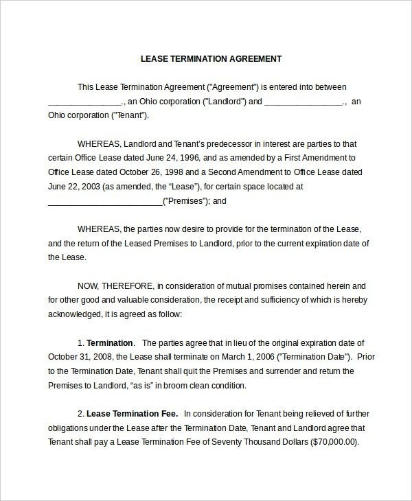 Sample Lease Termination Agreement - Resume Template