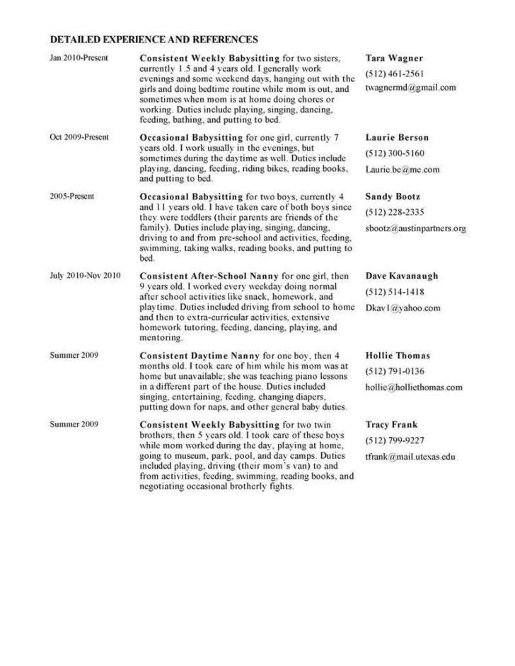 Examples Of Nanny Resumes Unforgettable Full Time Nanny Resume - babysitter resumes