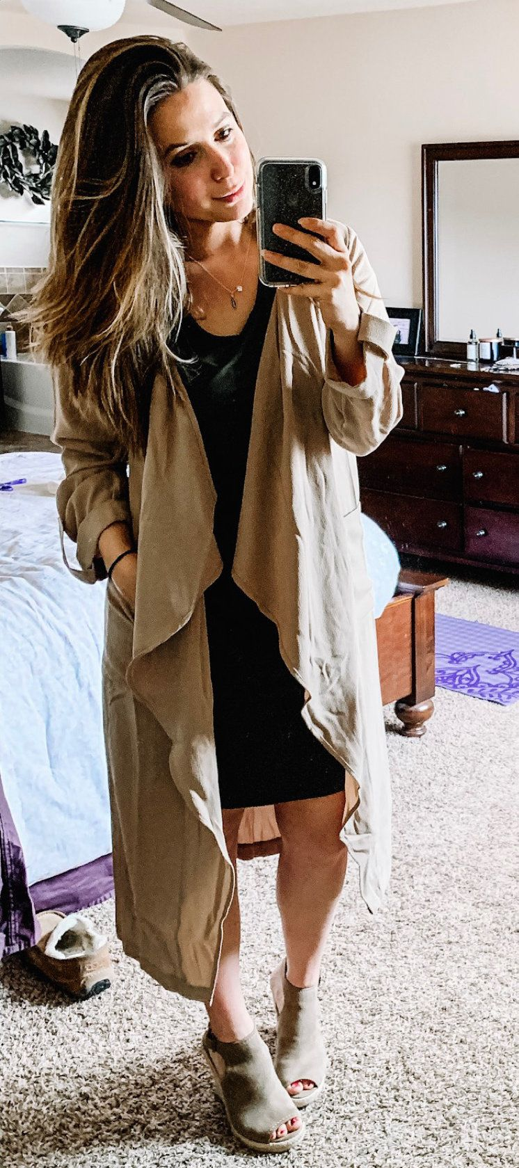 brown waterfall cardigan #spring #outfits