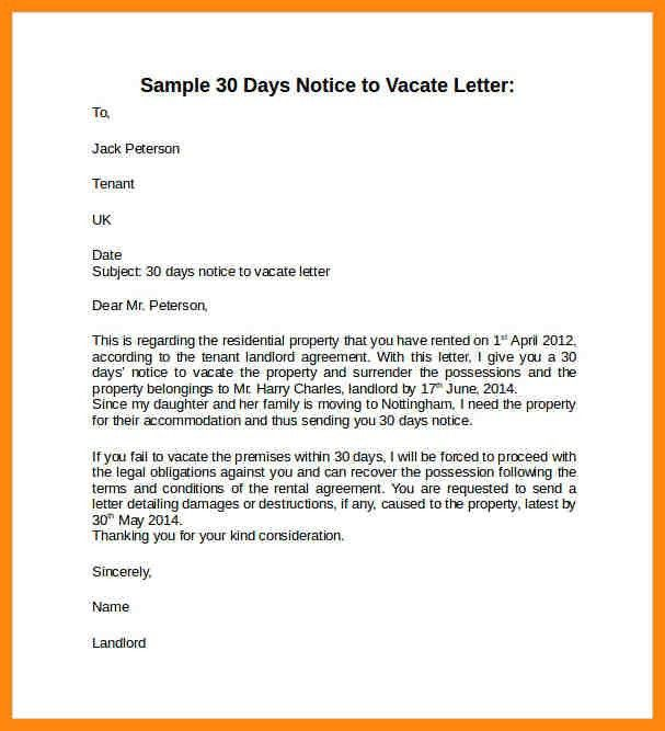 30 day notice letter to tenant from landlord