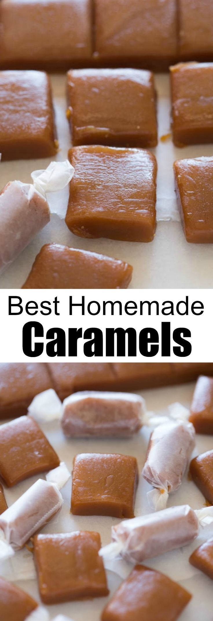 Homemade caramels are perfectly soft and chewy and so easy to make! | tastesbetterfromscratch.com via @betrfromscratch #christmas #best #caramels #candy