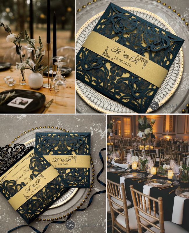 classic navy blue and gold laser cut wedding invitations with belly band#wedding#weddinginvitations#stylishwedd#stylishweddinvitations