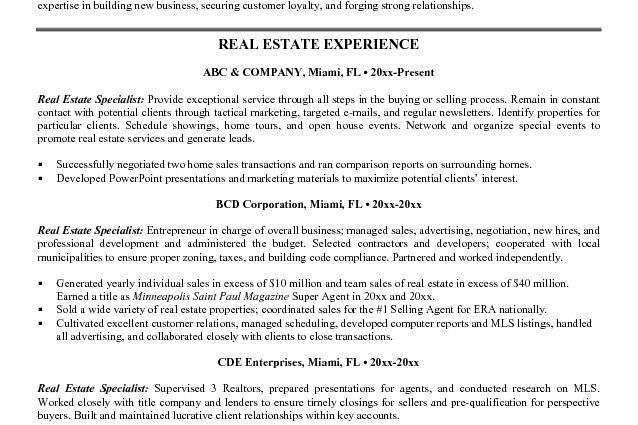 Real Estate Specialist Sample Resume - shalomhouse