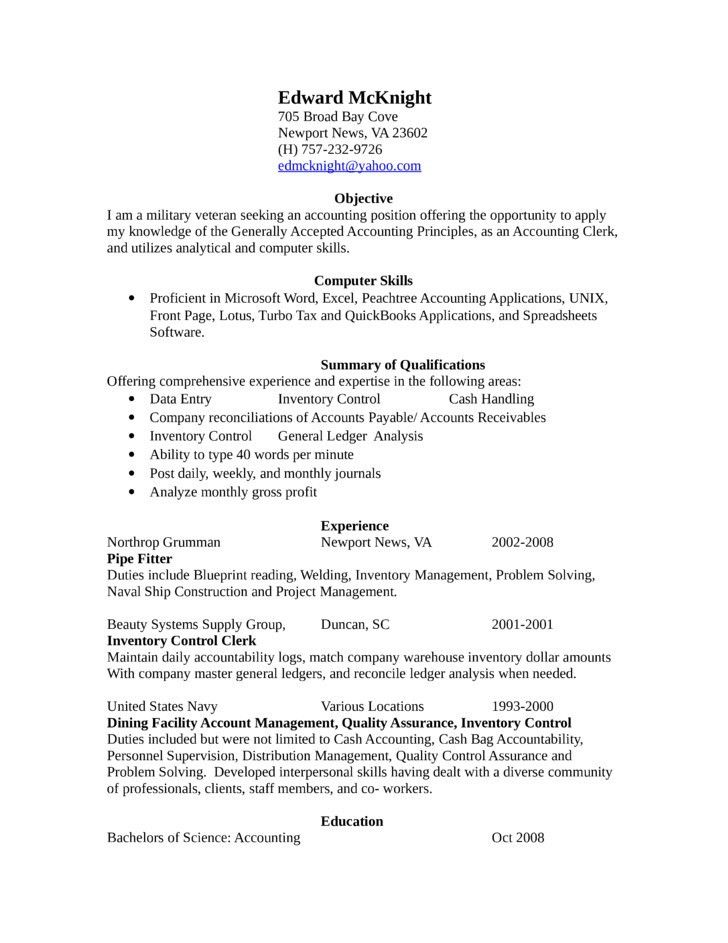 Accounting Clerk Resume Objective Best Accounting Clerk Resume - resume objective for accounting