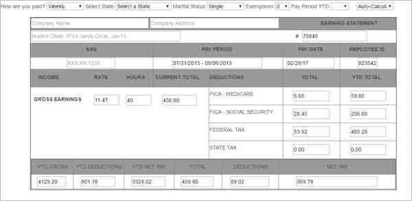 Free Pay Stub Template Pay Stub Template 17 Free Samples Examples - pay stub format