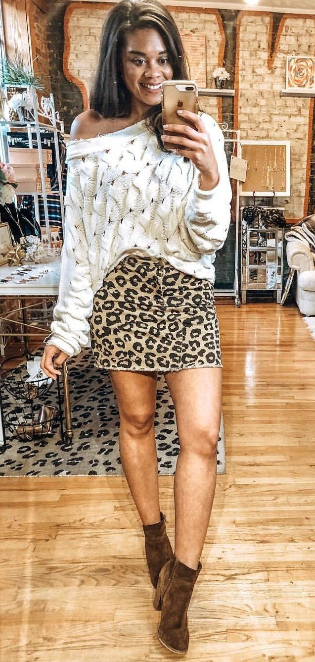 white and black leopard print dress #winter #outfits