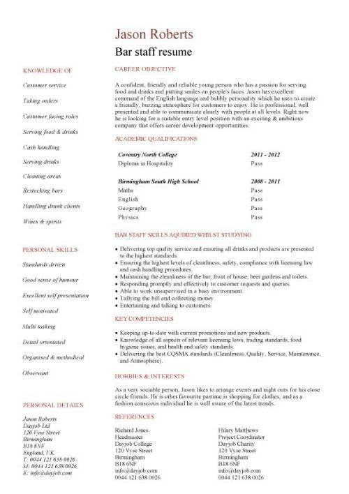 Sample Resume For Restaurant Worker Restaurant Worker Resume