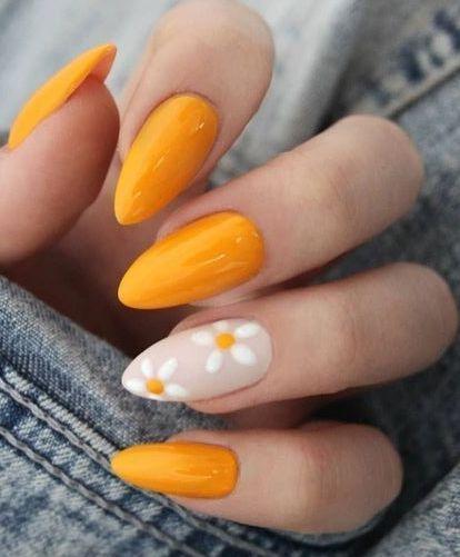 Elegant nail art design with flowers