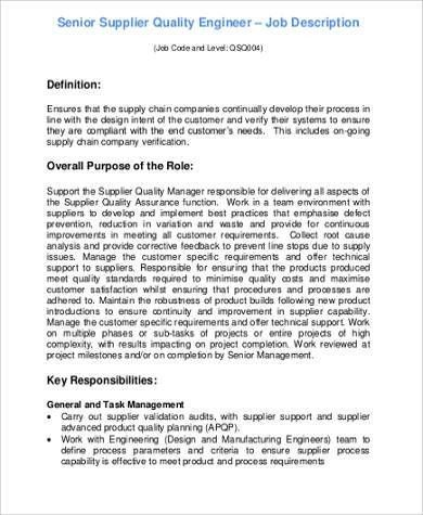 Manufacturing Engineering Job Description Download Production - quality engineer job description