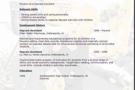 resume for child caregiver