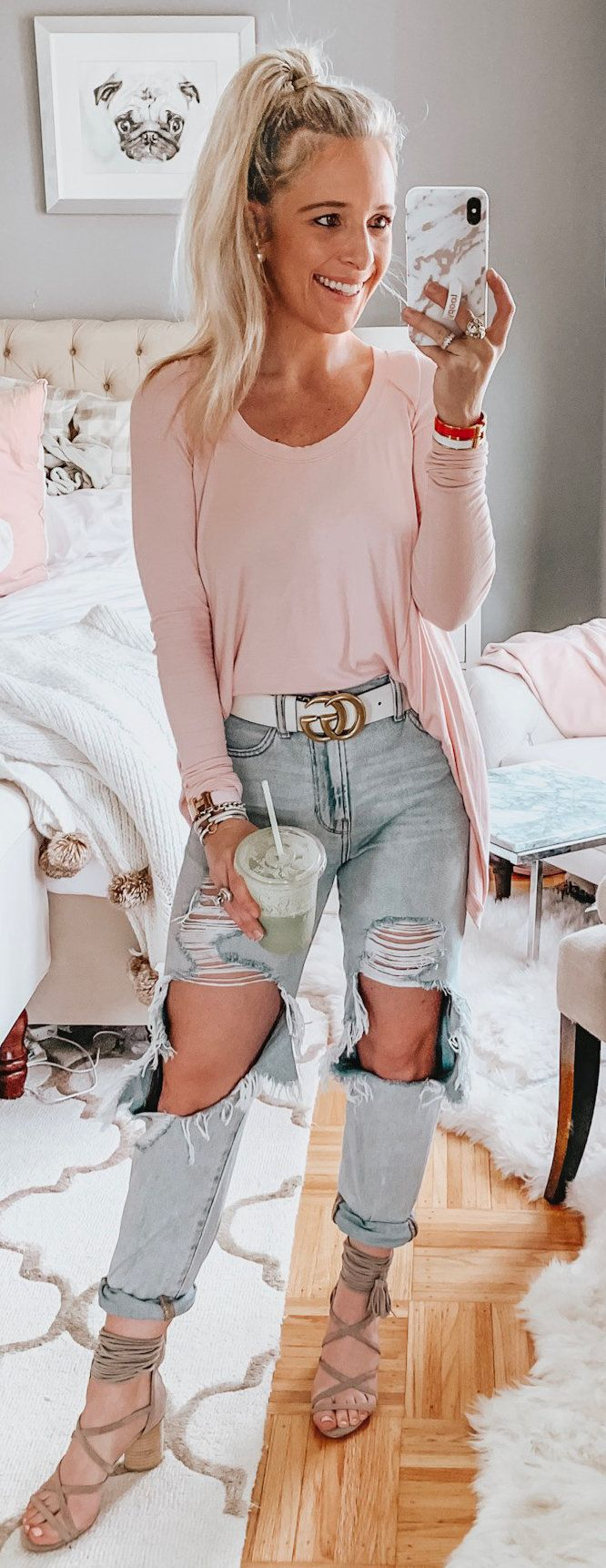 pink long-sleeved shirt #spring #outfits