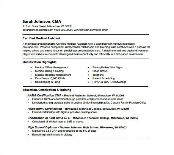 Qualification For Medical Assistant 16 Free Medical Assistant - medical assistant qualifications resume