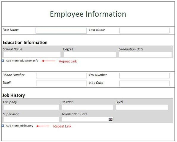 new employee information form