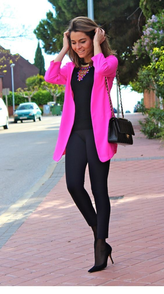 Glam black and pink office style