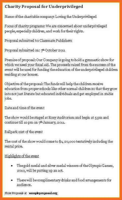 Charity Proposal School Charity Proposal Template, Charity   Charity Proposal  Template