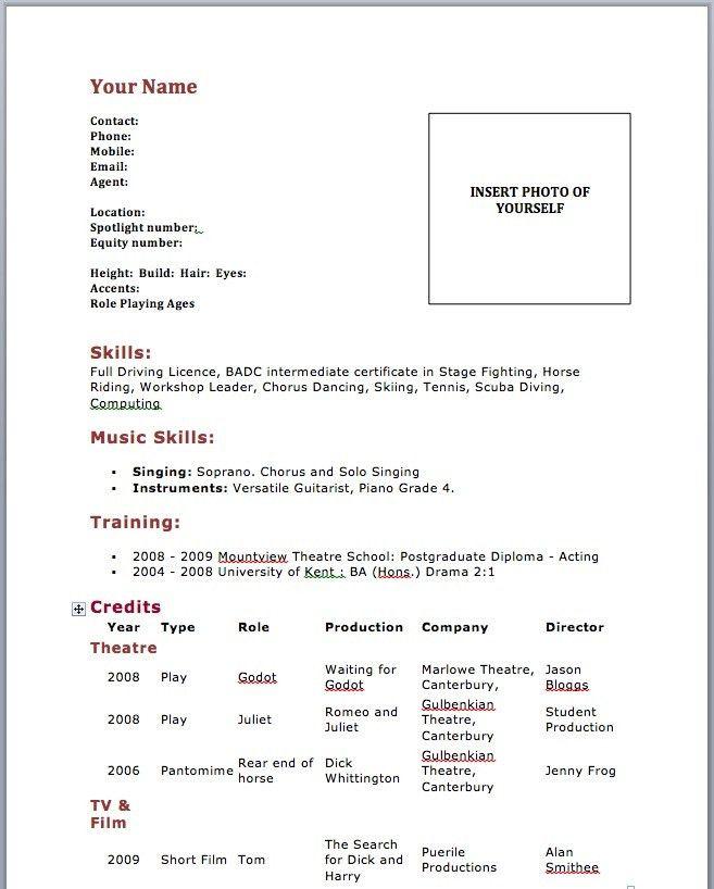Beginner Resumes Beginner Resume Sample, Entry Level Resume - professional actor resume