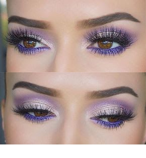 Glam eye makeup with purple