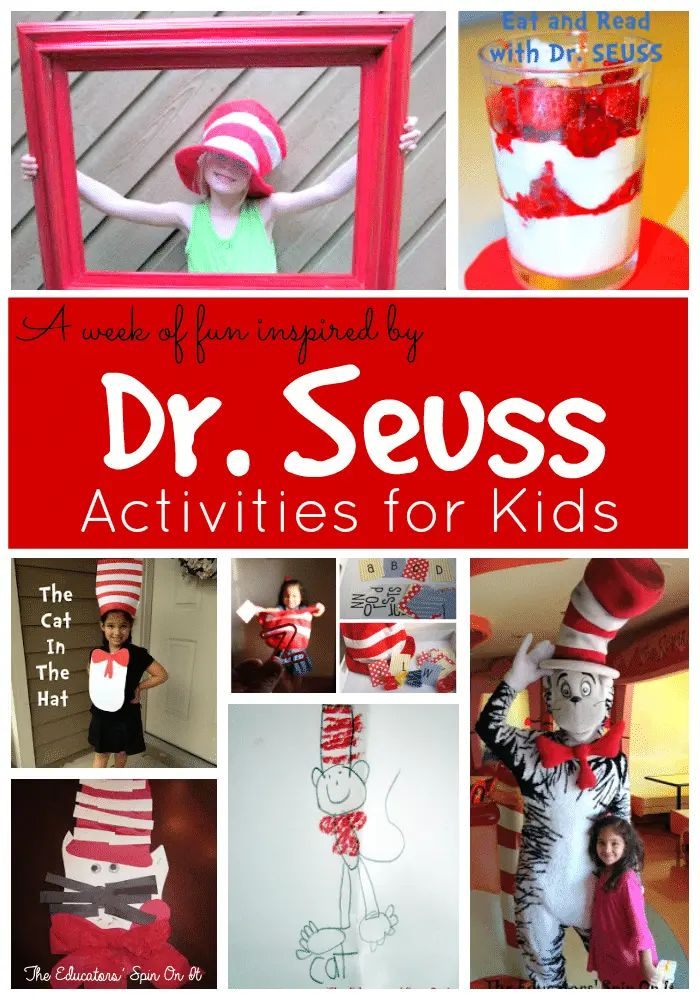 A Week with Dr. Seuss!  Dr. Seuss lesson plan back with book extensions inspired by The Cat and the Hat and more!  #drseuss