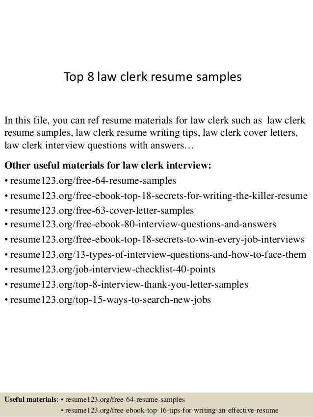 ... Clerk Sample Resume . Court ...