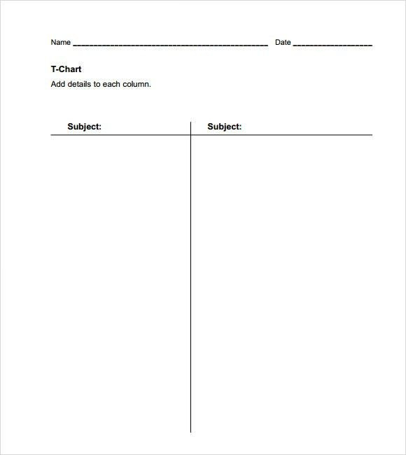Sample T Chart   7 + Documents In PDF, Word  Blank T Chart