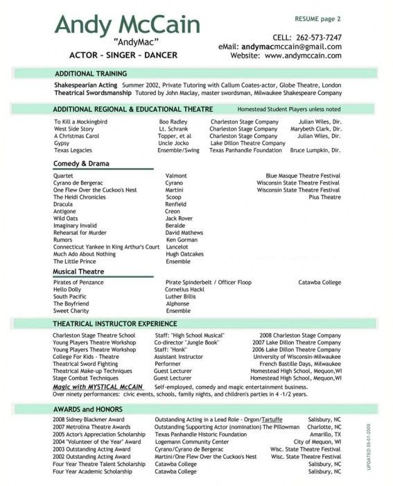 two page resume format examples