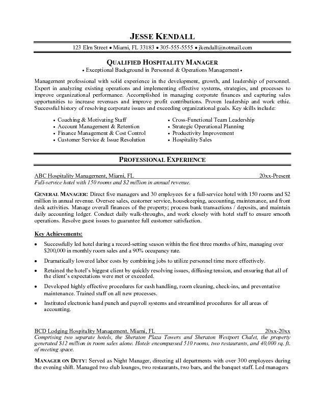 Examples Of Hospitality Resumes Hospitality Resume Sample Writing - restaurant manager resume template