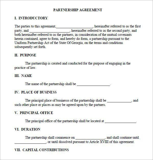 Partnership Contracts Template Partnership Agreement Template - real estate partnership agreement