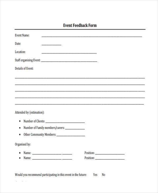 Format For Feedback Form Ms Word Printable Customer Feedback Form - event feedback form in pdf