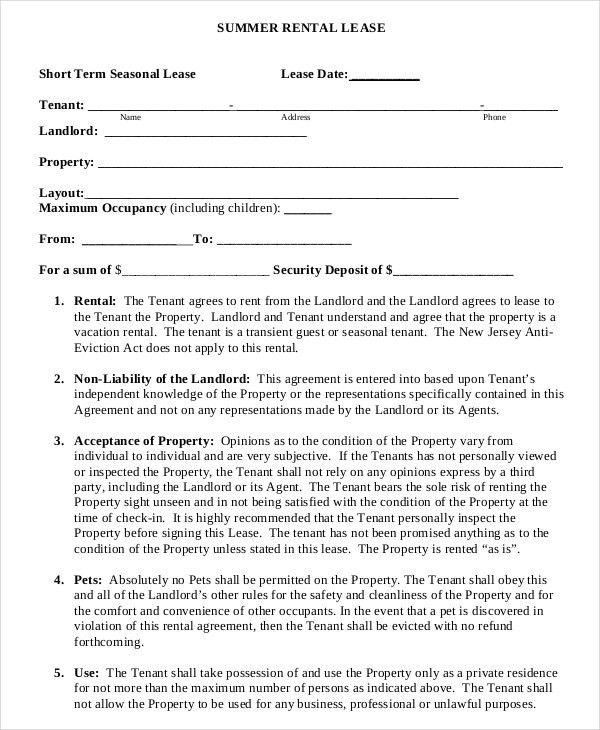 Simple Lease Agreement Sample Simple Lease Agreement 9 Examples - sample lease agreement template