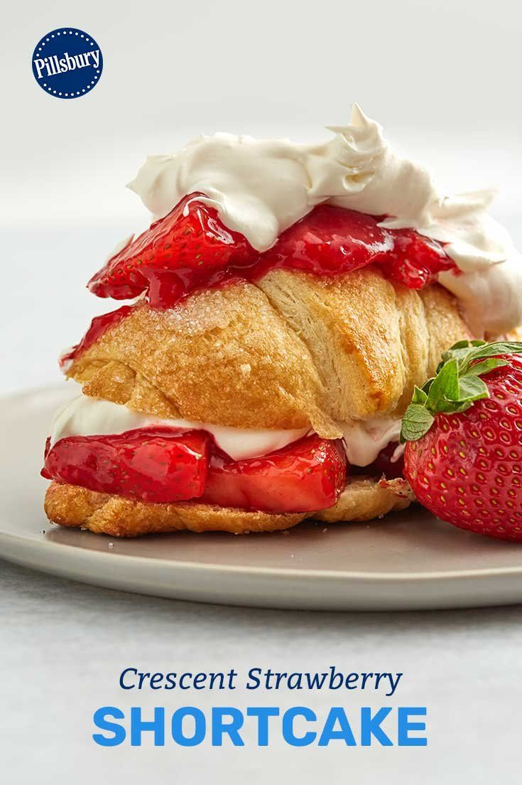 How cute! Replace from-scratch shortcake with equally-buttery crescent rolls for a batch of strawberry shortcakes that are fun, fruity and fantastically simple.
