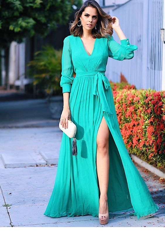 Amazing light blue long dress and nice accessories