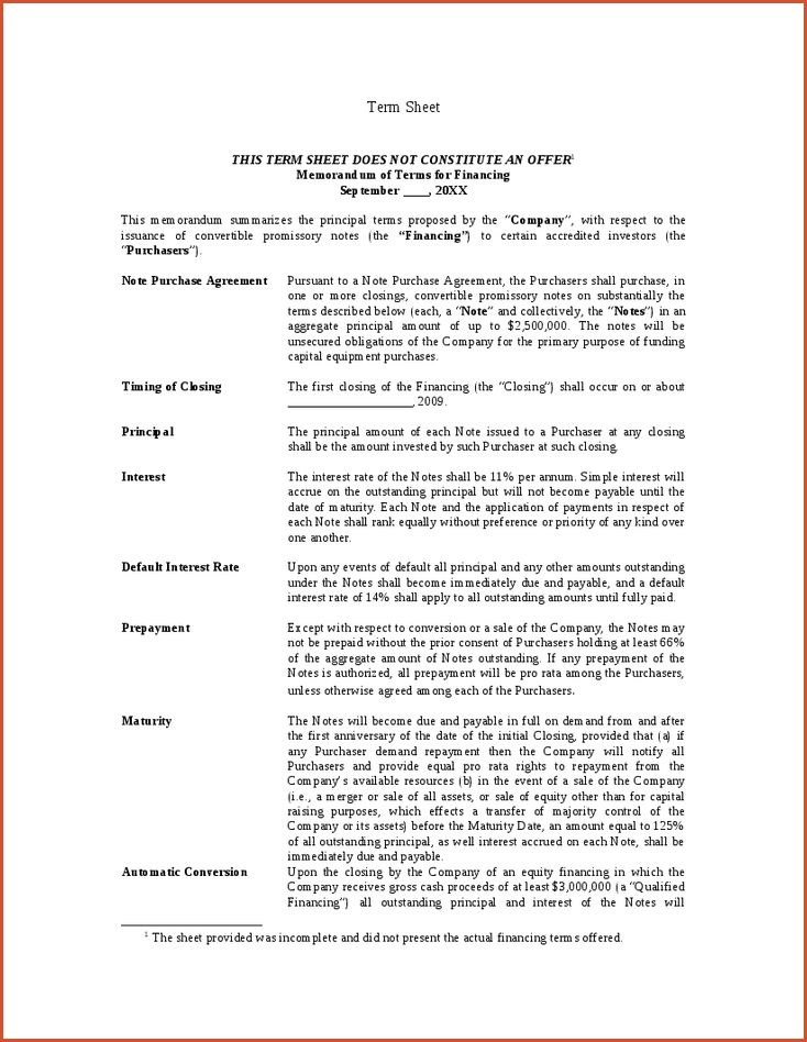 Term Sheet Template This Is How A Standard Term Sheet Looks Like - convertible note agreement template