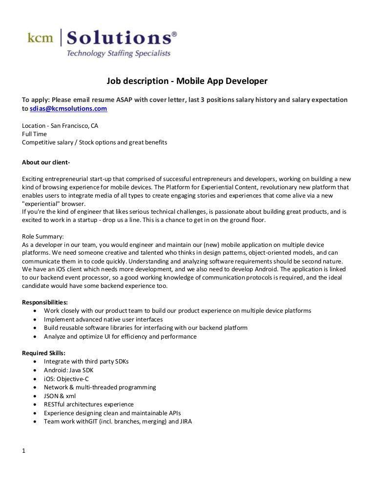 app developer job description mobile app developer job android developer cover letter - App Developer Job Description