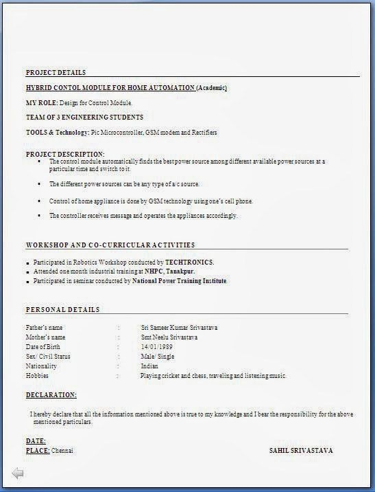 resume format for mca freshers over cv and resume samples with