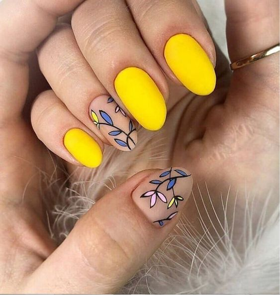 Amazing matte yellow nails style