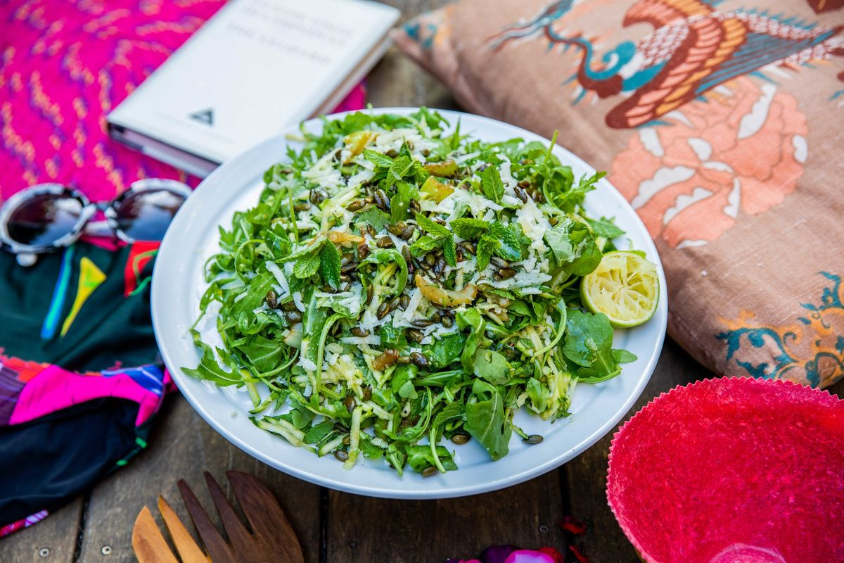 Caramelised celery, courgette and pumpkin seeds with mint, manchego and rocket | JasmineHemsley.com