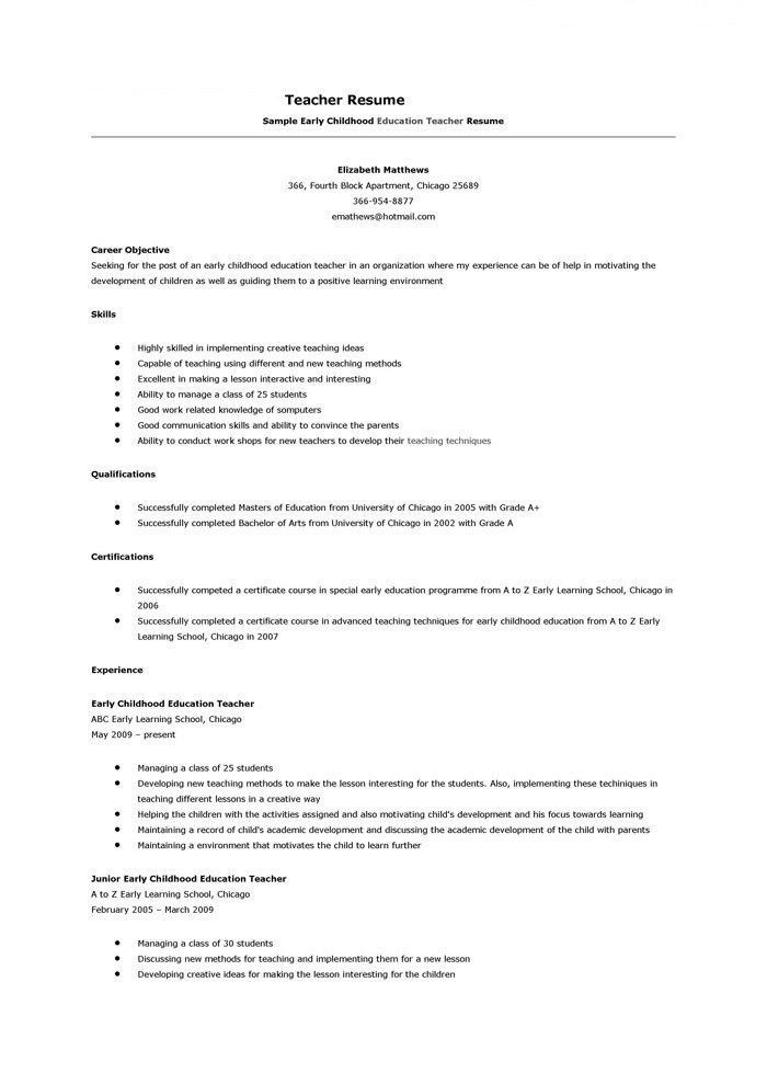 Teacher Resume Objective Examples - Examples of Resumes
