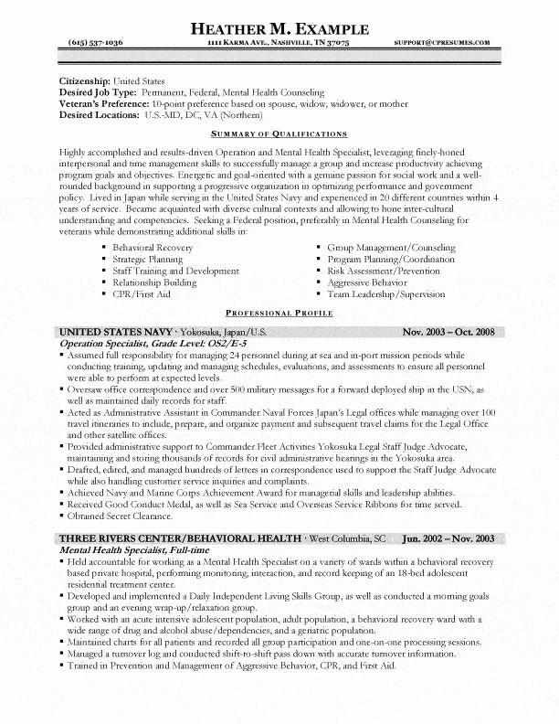 mental health specialist sample resume node2003-cvresume