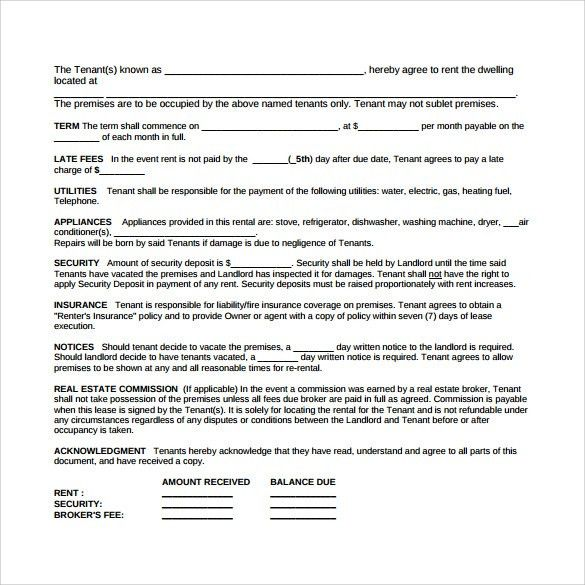 Printable sample rental lease agreement templates free form real - blank lease agreements